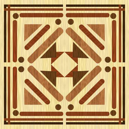 Wooden inlay with light background, dark wooden patterns. Wooden art decoration template. Veneer textured geometric ornament.
