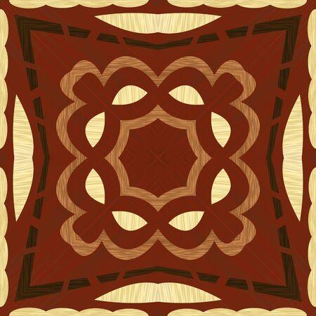 Wooden inlay, light and dark wooden patterns. Veneer textured geometric ornament. Wooden art decoration template. Vector design. Stock Illustratie
