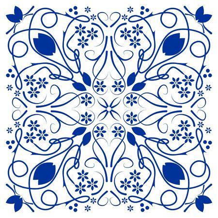 Blue azulejo ceramics tile, folklore patterns in cobalt blue on white background. Ilustrace