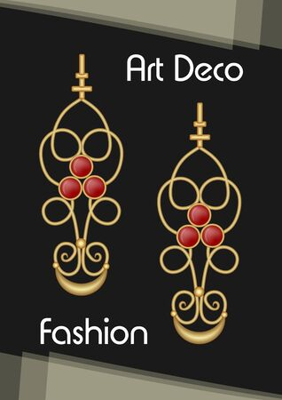 Golden earrings in art deco style with ruby pendant. Red gem on antiquarian pendant