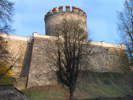 Detail of fortyfication with stone tower, Medieval castle Cesky Sternberk in Central Bohemia, Czech republic,
