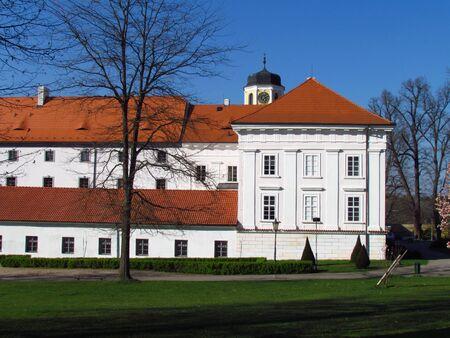 Castle of city Vlasim, view of public park, Central Bohemia region