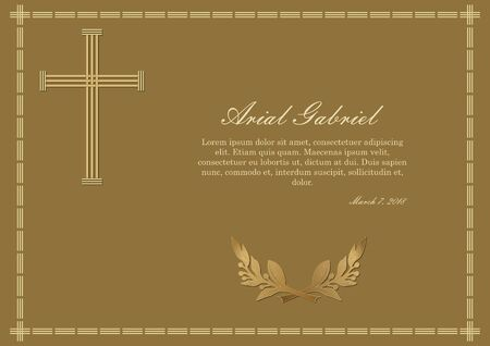 Luxurios obituary with golden elements on dark golden background, simply gold cross and laurel branche