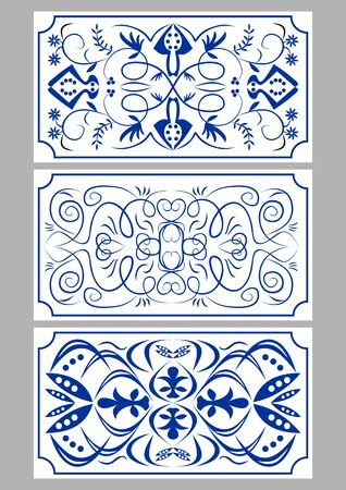 Set of three blue azulejo ceramics tiles, dark blue drawing on white background, traditional ceramics of Portugal or Spain,
