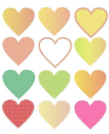 collection of halftone hearts in cheerful colors