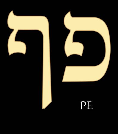 Hebrew letter pe, seventeenth letter of hebrew alphabet, meaning is mouth, gold design on black background