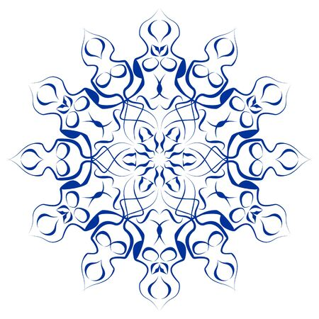 Circle flower blue ceramics design, symmetric cobalt patterns on white background, ceramic in portuguese or spain style, azulejo