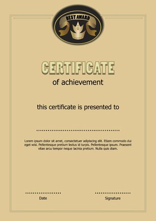 Certificate of achievement with Best award logo, gold ribbon and royal crown symbol, elegant luxurious template with text sample