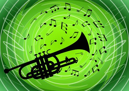 Musical flyer with black silhouette of trumpet on light green abstract circle and doodle patterned background and musical notes flying around instrument