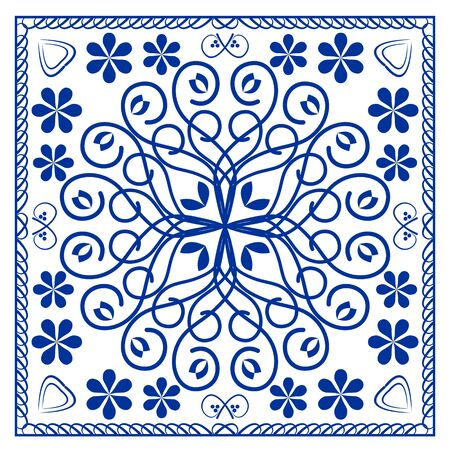 Blue ceramics tile design, symmetric cobalt patterns on white background, ceramic in portuguese or spain style, azulejo