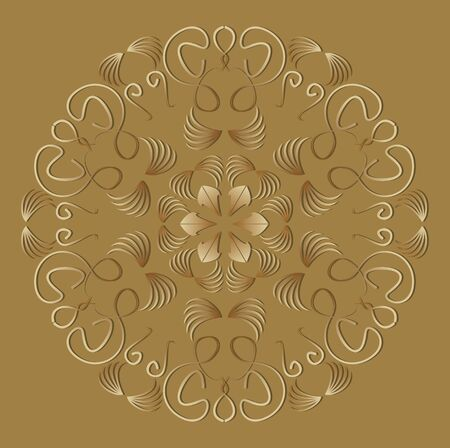 Vintage ornament in luxurious gold design. Circle geometric patterns with 3d embossed effect. Antiquarian motif in art deco style