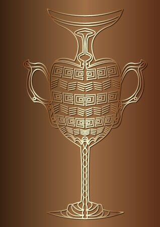 Luxurious carafe, cruet in Ancient Egyptian style, gold design on gradient background, decorative image with 3d illusion,