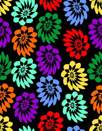 Stylized asymmetrical simple flowers in different vivid colors on black background. Seamless background for fabric and textile design,