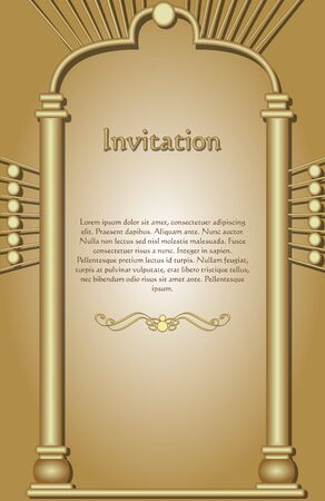 Invitation template in gold design, the frame represented as a 3d golden gate, golden gradient background, sample text, golden embossed divider under text