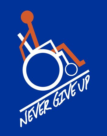 Wheelchair symbol, orange figure in white wheelchair on dark blue background, go to the goal - motivation text