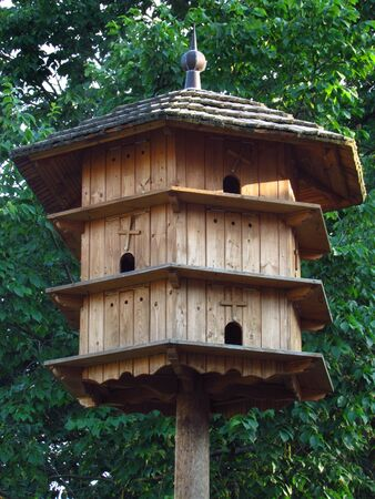 wooden dovecote, vintage, classic pigeon breeding in the countryside, Czech republic, Central Bohemian region