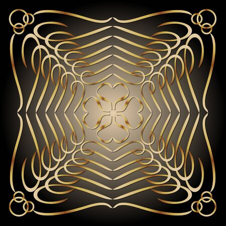 Golden patterns on black background with golden glow in middle. illusion of space, art deco decorative tile, vector design Ilustracja