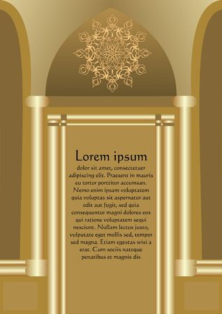 Elegant original leaflet template in gold design composed as golden gate, luxurious design for invitation, 3d effect, filigree rosette decoration