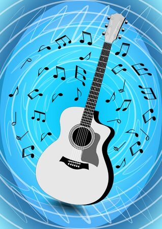 Musical flyer with monochrome guitar on light blue abstract circle and doodle patterned background and musical notes flying around instrument