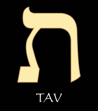 Hebrew letter tav, twenty-second letter of hebrew alphabet, meaning is eternity, gold design on black background