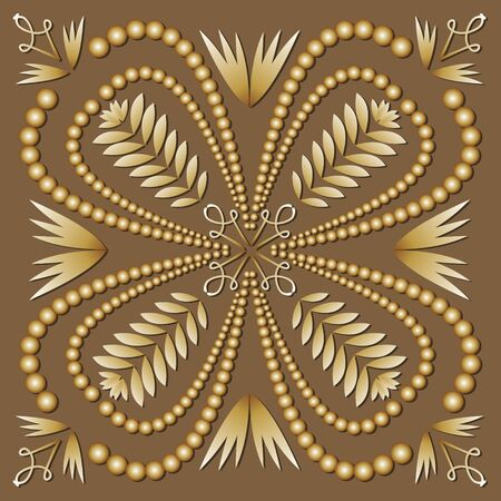 square tile filigree ornament in luxurious gold design. Antiquarian motif in art deco style. Elegant geometric patterns with 3d embossed effect. Ilustracja