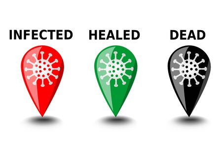 Coronavirus covid-19 infographic icons, the location and status of the pandemic, red icon for infected, green icon for healed, black icon for dead