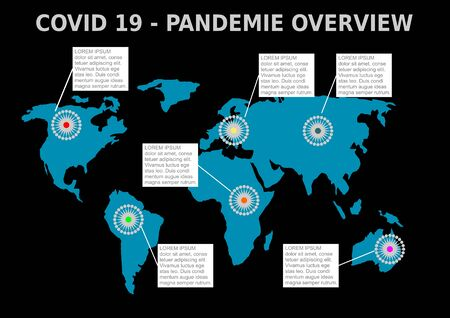 Covid 19 pandemie overview, blue continents with coronavirus symbole and white frames for information. Infographics template on black background.