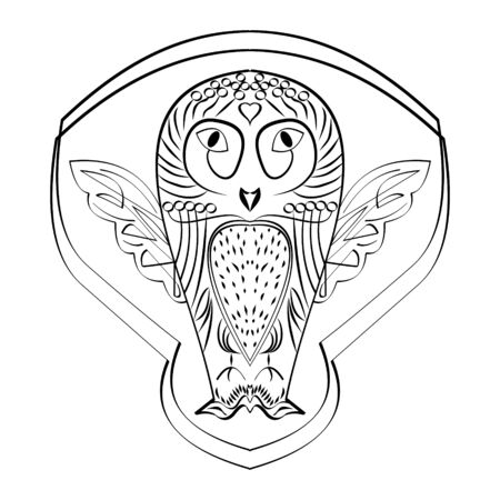 Owl figure tatoo, calligraphic line drawing, symmetric owl bird, black and white design, wisdom symbol