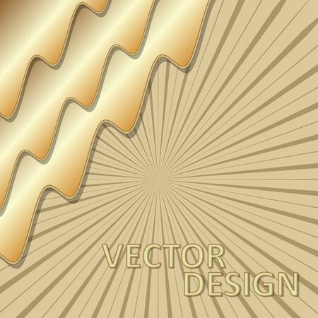 Gold 3d design, background template with 3d golden wavy shapes composition, rays on background. Elegant minimalist design. Ilustracja