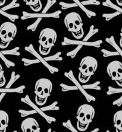 skull and crossed bones, pirate symbol, seamless pattern, white drawing on black background, textil design, wrapping paper, horror wallpaper, halloween decoration Ilustracja