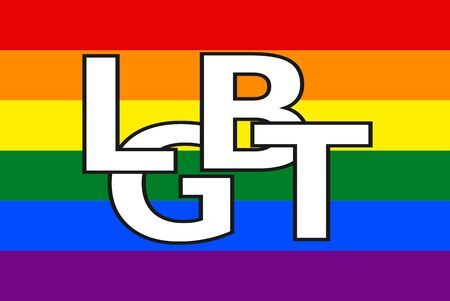 LGBT flag with white letters LGBT. Lesbian, gay, bisexual, and transgender movement.