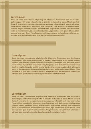Luxurious golden leaflet template with three sections for text, sample text, embossed simply line decoration