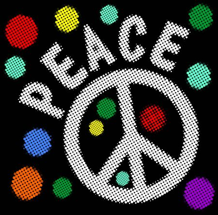 Halftone peace banner with hippies anti war symbol and halftone patterned rainbow circles. Retro style 60s, 70s, 80s