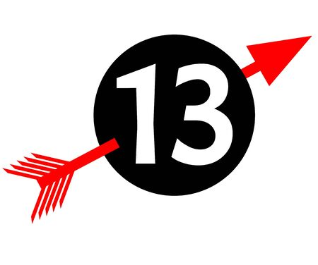 emblem with digit thirteen, white number 13 in black circle pierced by red arrow