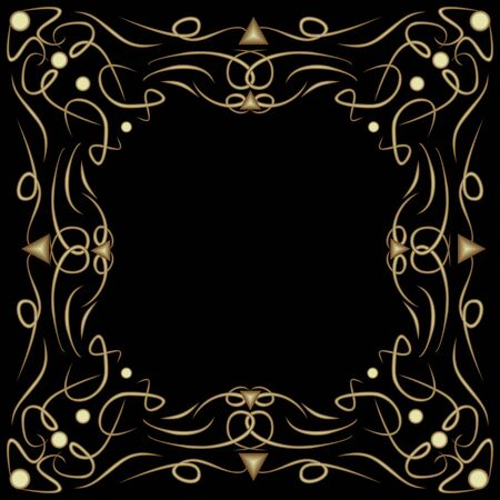 Art deco frame with embossed patterns on black background, filigree decorative border, vintage decoration with curly curves, blank area for own text, vector design