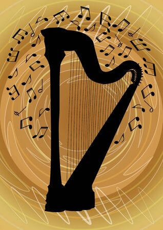 Silhouette of harp surrounded by notes on abstract gold background, graphic design of flyer with musical theme,
