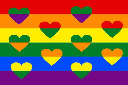 LGBT flag with overlapping hearts between rainbow strips. Vivid spectrum colors. Lesbian, gay, bisexual, and transgender movement.