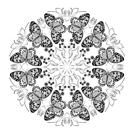 Monochrome black and white mandala with butterflies, curly patterns, circle ornament on white background, joy of nature, spiritual healing