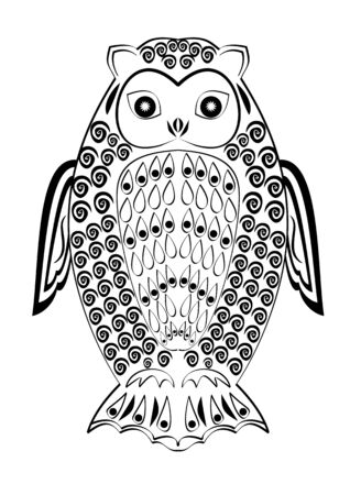 Monochrome tribal owl tatoo, symmetric owl figure, black and white drawing, wisdom symbol,vector template