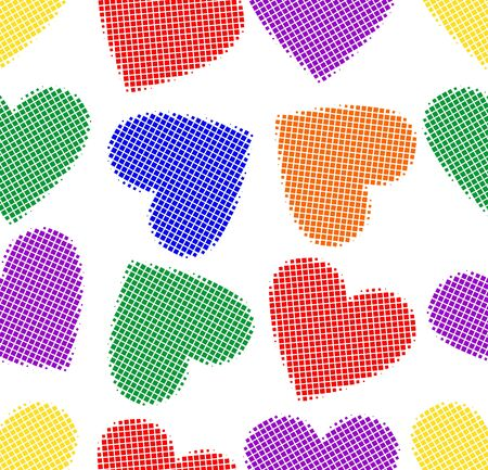 LGBT halftone hearts in rainbow colors, seamless tile, textile, wrapping paper design. Cute heart shapes on white background.