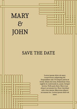 Wedding announcement in simply elegant style, golden grid on light golden background, sample text Ilustracja