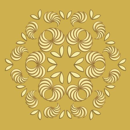 Gold patterns composed of leaves, 3d illusion, circle ornament on light golden background, luxurious vintage ornament, decoration with floral motif Ilustracja