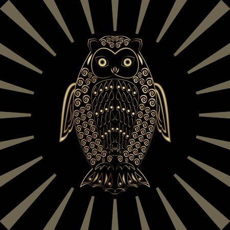 Owl in gold design on black background with transparent rays in circle composition, mysterious birs, wisdom symbol, luxurious decoration with 3d illusion effect Ilustracja