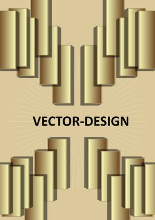 Gold 3d design, leaflet or cover template with 3d golden rectangle composition, embossed ornament. Elegant minimalist design.