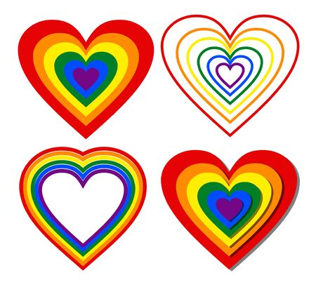 collection of LGBT rainbow hearts in different graphic design on white background, beautiful print for t-shirt, leaflet and flyer decoration