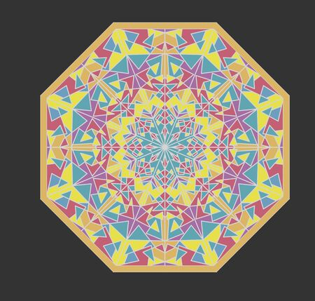Octagonal mosaic geometric patterns, kaleidoscope fragments, ornament in soft pastel colors on dark gray background,