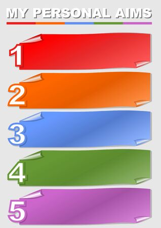 Motivation template, my personal aim list, education, soft skills, five personal aims, multicolored strips like bended paper