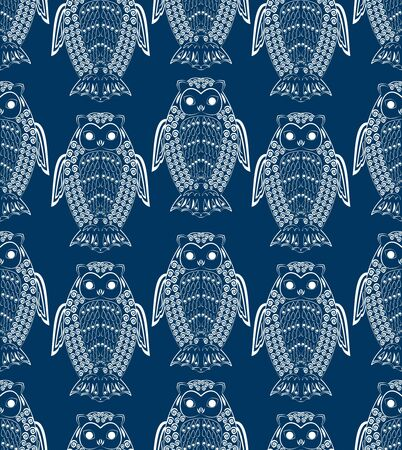 Cute owls, white drawing on dark blue night background, seamless patterns, textile design, wrapping paper, fabric ornament