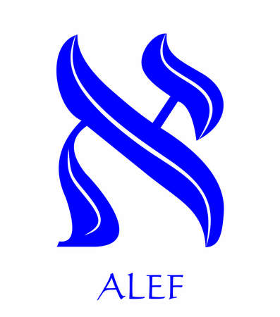Hebrew alphabet - letter alef, gematria bulls head symbol, numeric value 1, blue font decorated with white wavy line, the national colors of Israel Ilustracja