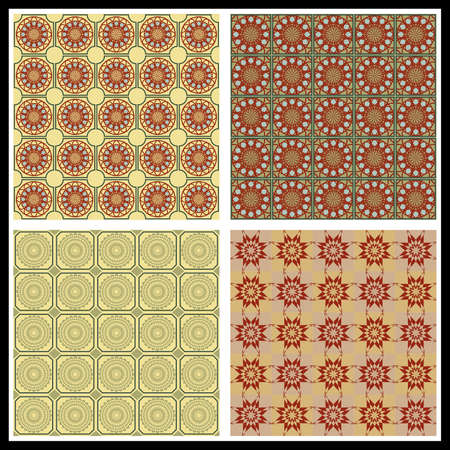 Art deco ornament, set of 4 tiles in subtle shades of beige, brick red and olive green. Tiny geometric pattern, vintage style Zdjęcie Seryjne - 161908225